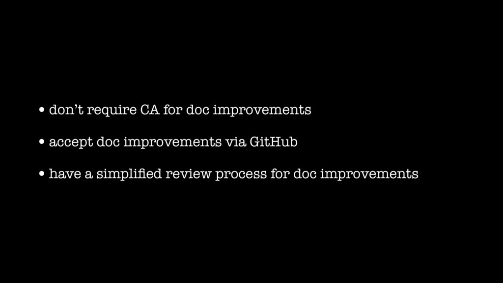 •don't require CA for doc improvements •accept ...