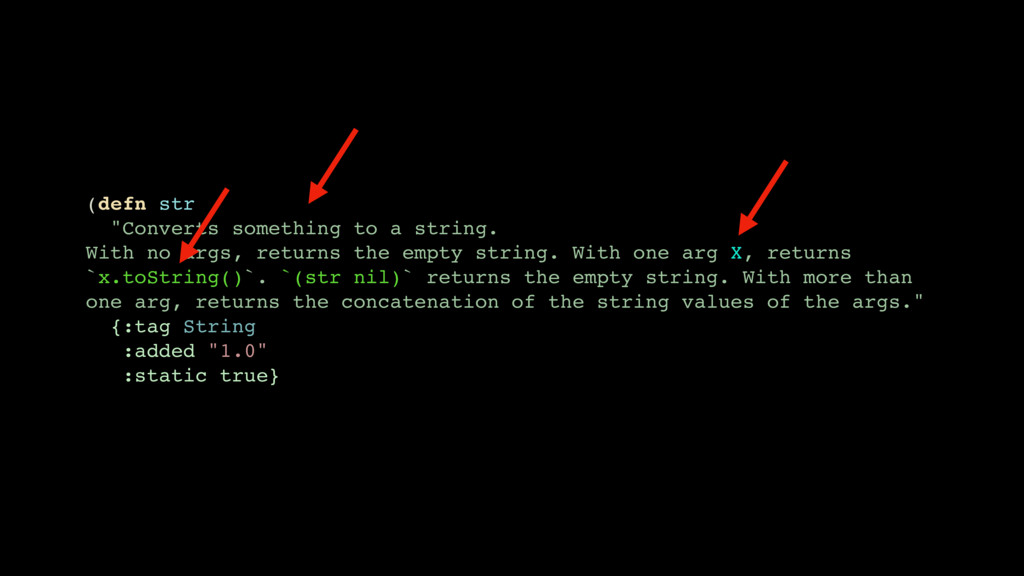 "(defn str ""Converts something to a string. With..."