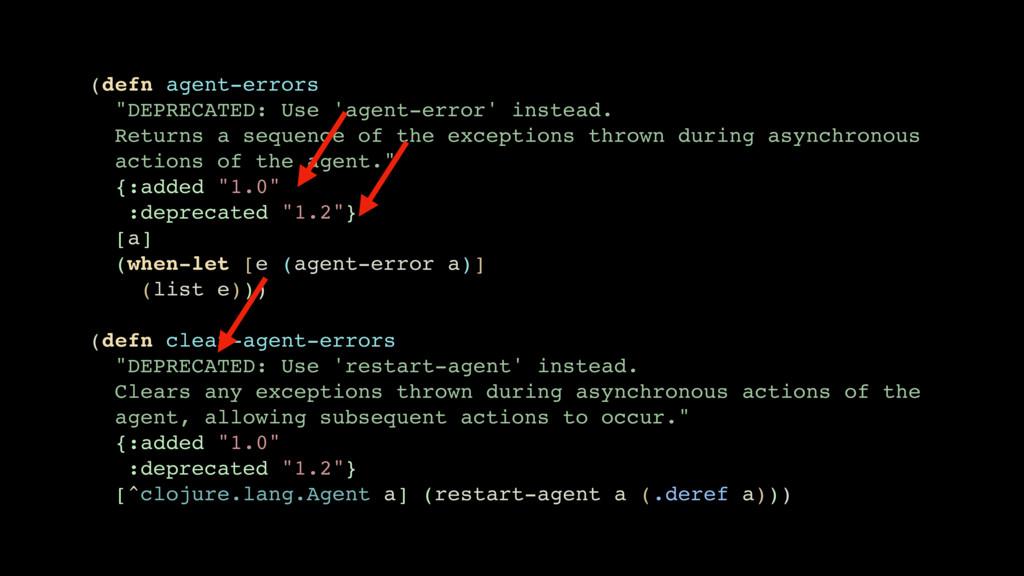 """(defn agent-errors """"DEPRECATED: Use 'agent-erro..."""