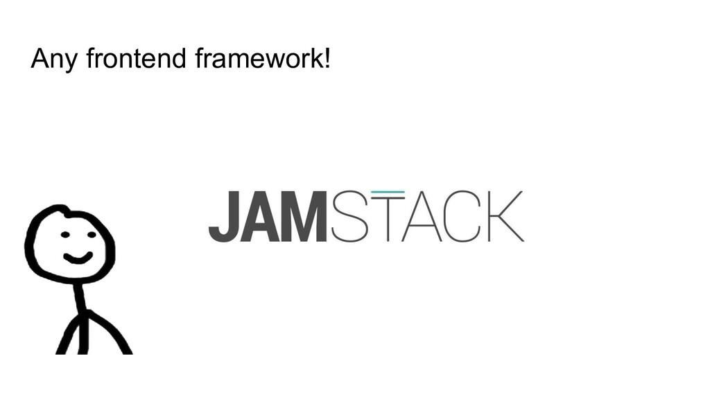 Any frontend framework!