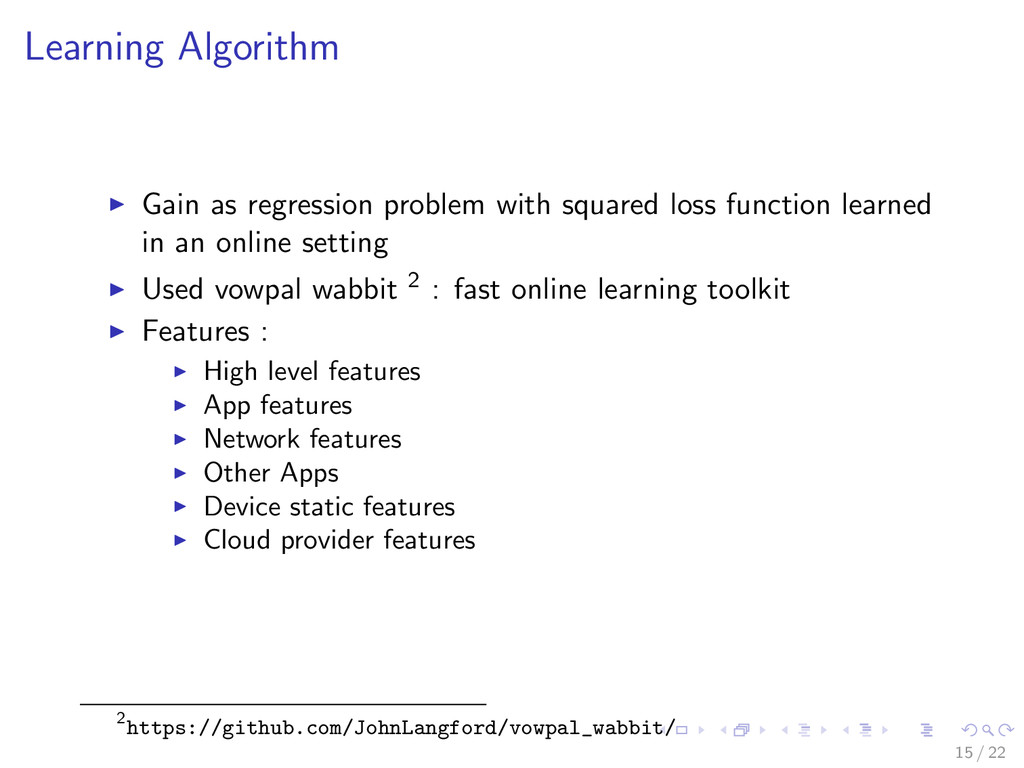 Learning Algorithm Gain as regression problem w...