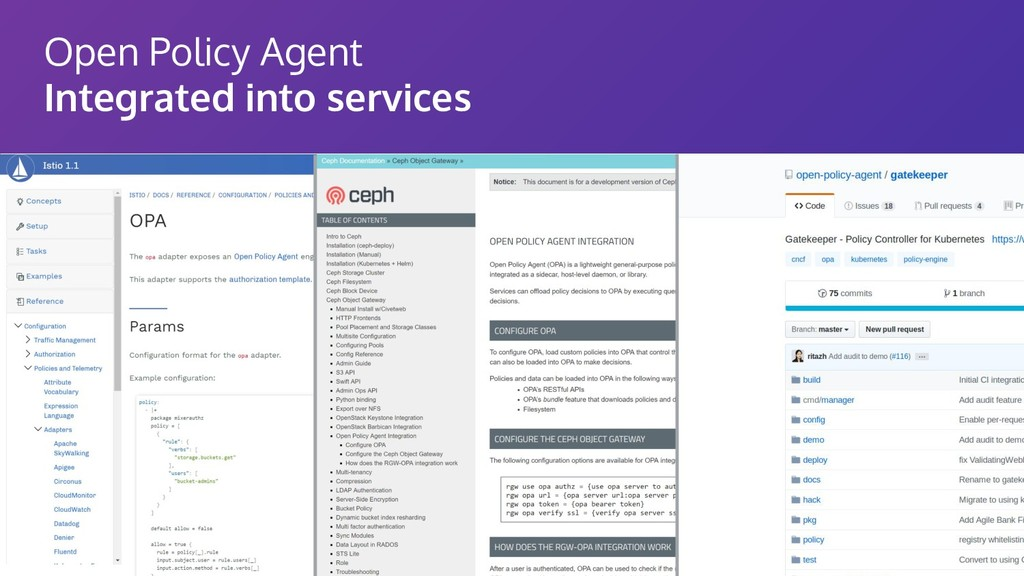 Open Policy Agent Integrated into services