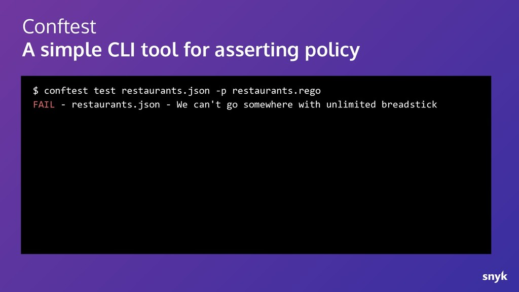 Conftest A simple CLI tool for asserting policy...