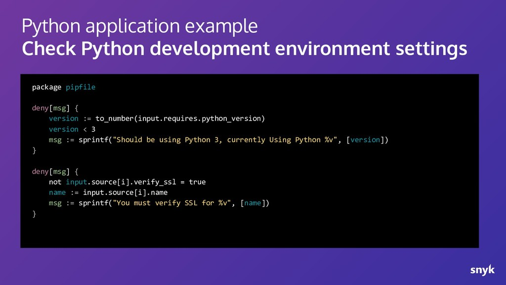 Python application example Check Python develop...