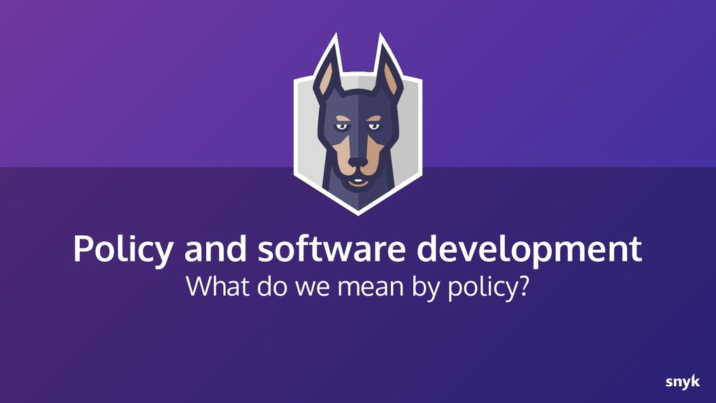 Policy and software development What do we mean...