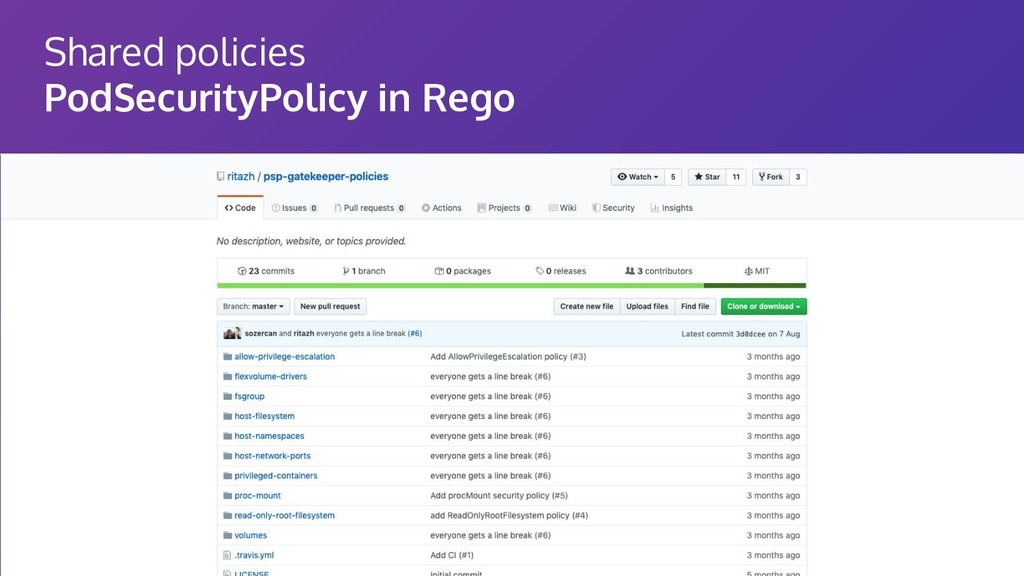 Shared policies PodSecurityPolicy in Rego