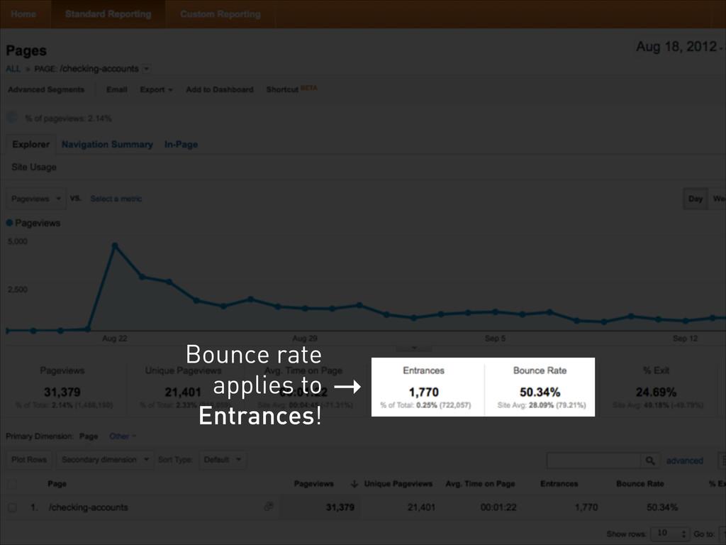 → Bounce rate applies to Entrances!