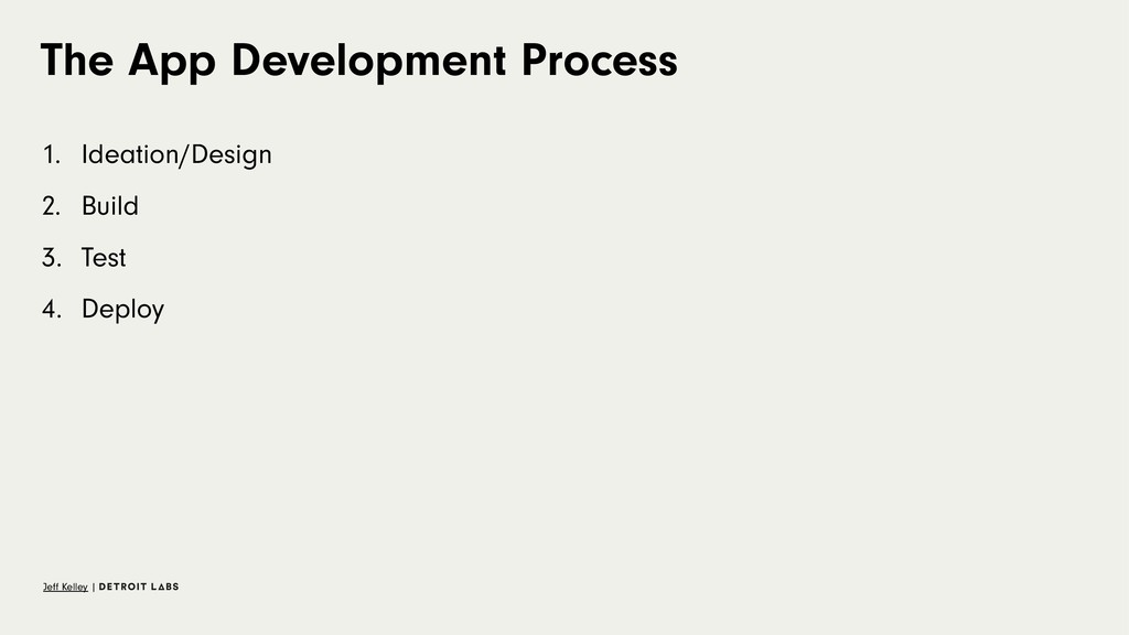 The App Development Process 1. Ideation/Design ...