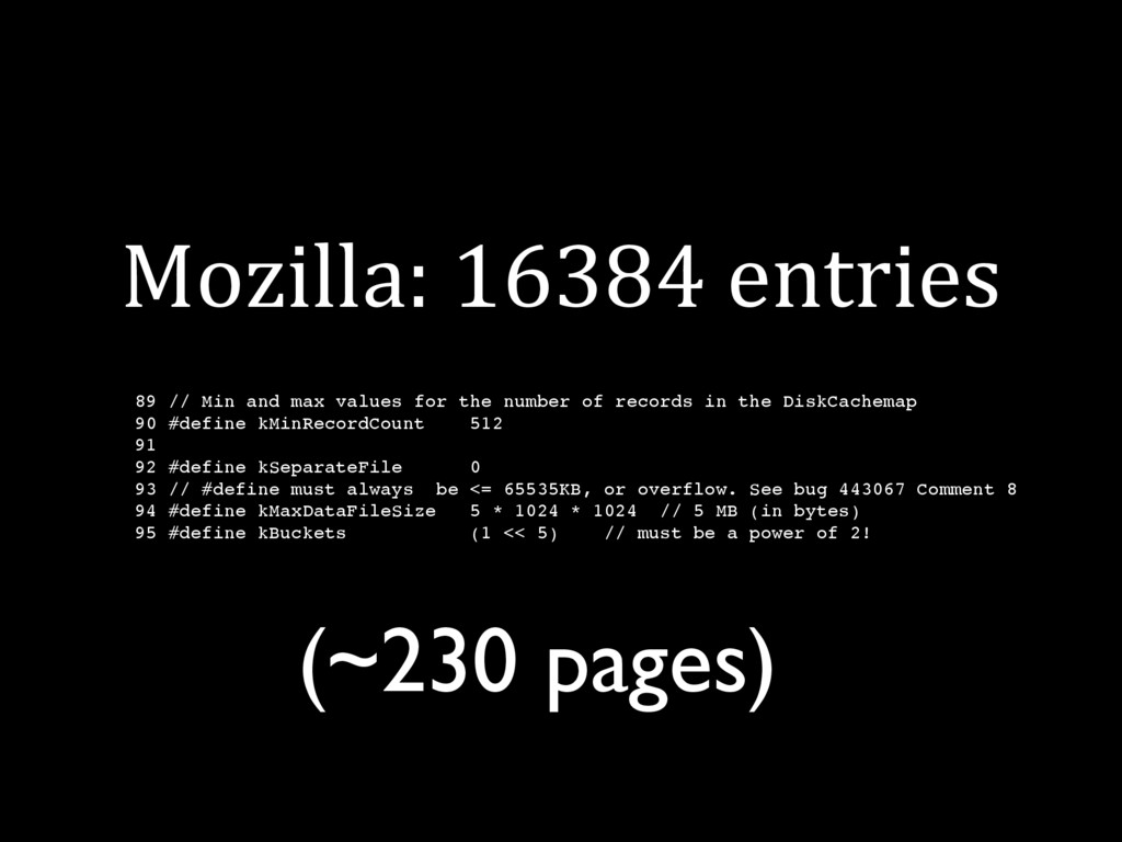 Mozilla: 16384 entries 89 // Min and max values...