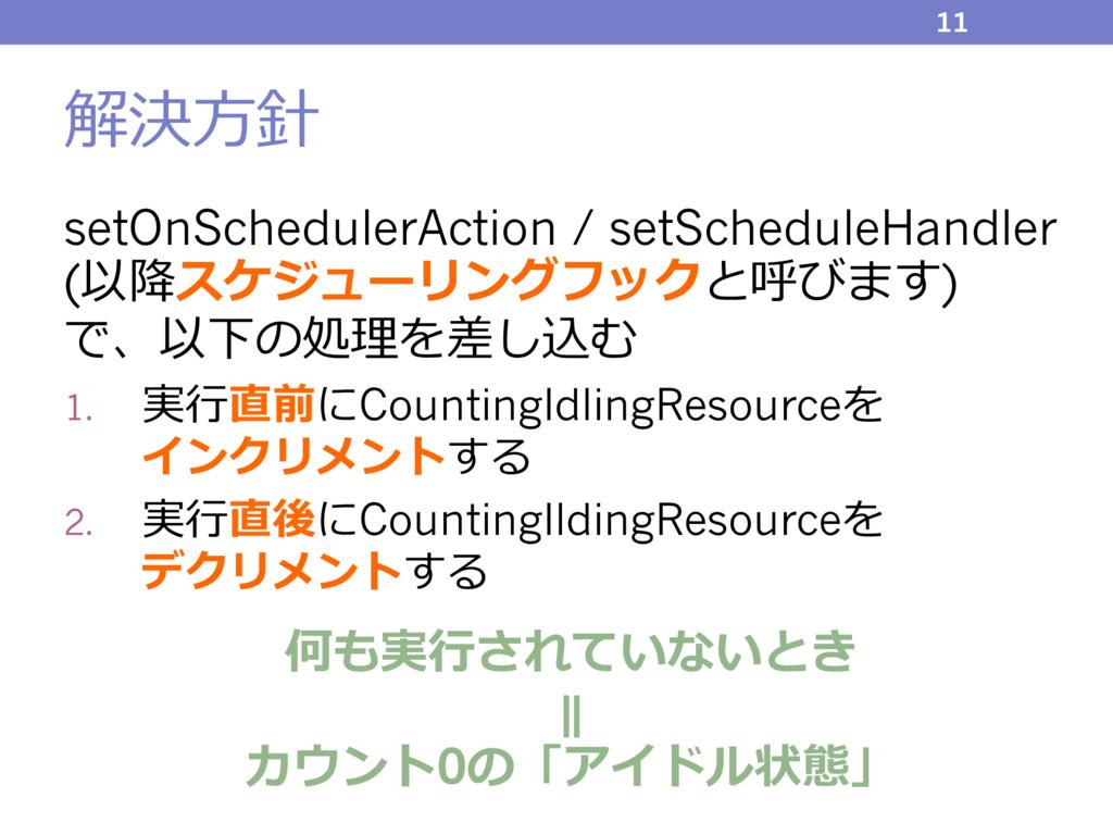 解決⽅針 setOnSchedulerAction / setScheduleHandler ...