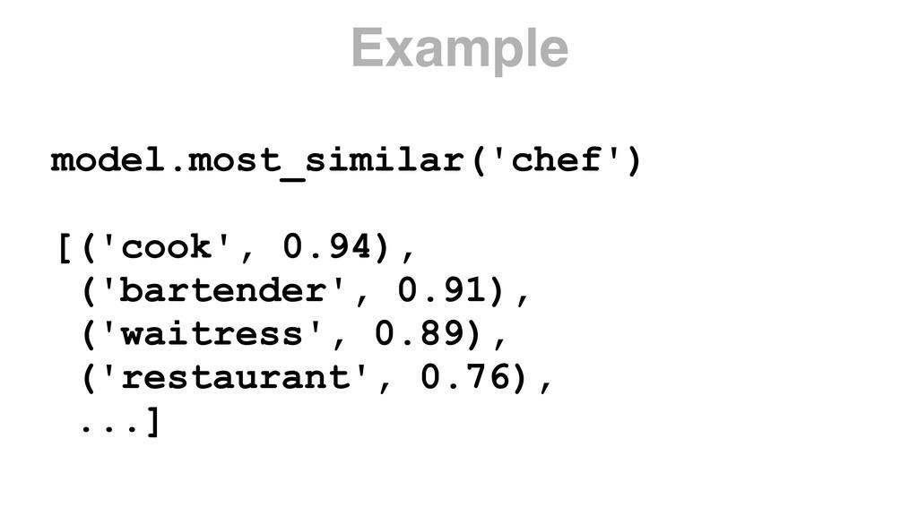 model.most_similar('chef') [('cook', 0.94), ('b...