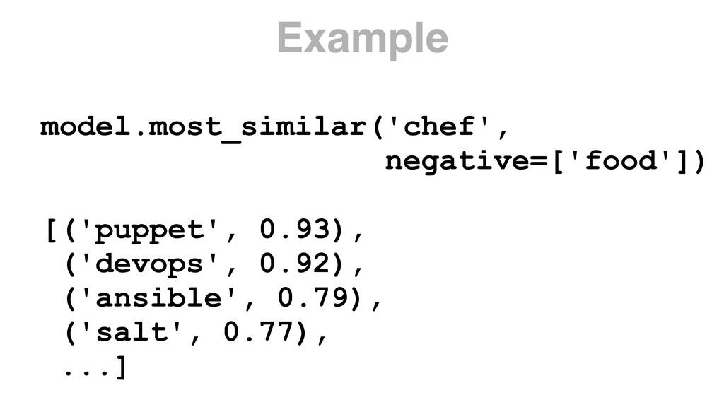 model.most_similar('chef', negative=['food']) ...
