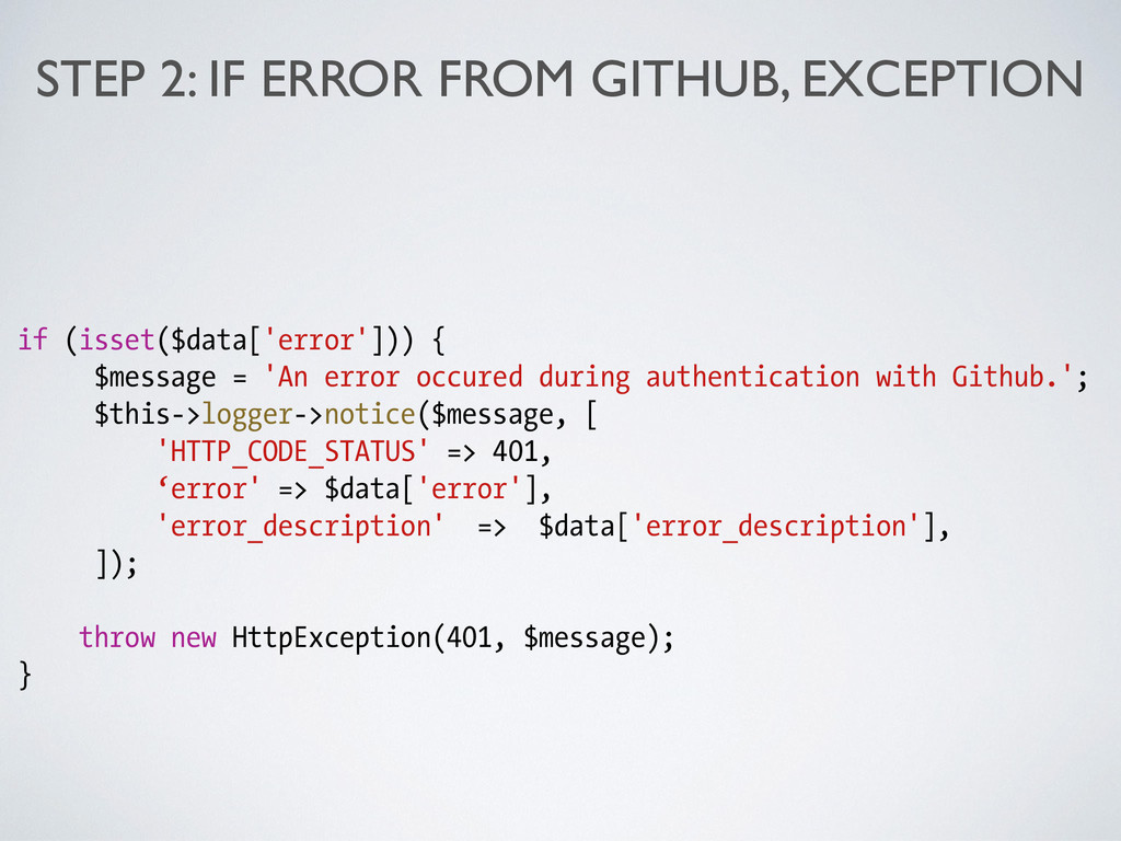STEP 2: IF ERROR FROM GITHUB, EXCEPTION if (iss...