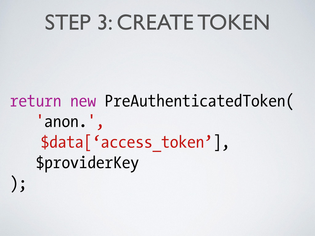 STEP 3: CREATE TOKEN return new PreAuthenticate...