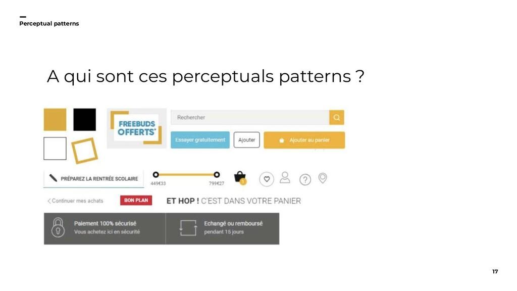 17 Perceptual patterns A qui sont ces perceptua...