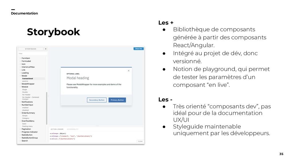 35 Documentation Storybook Les + ● Bibliothèque...