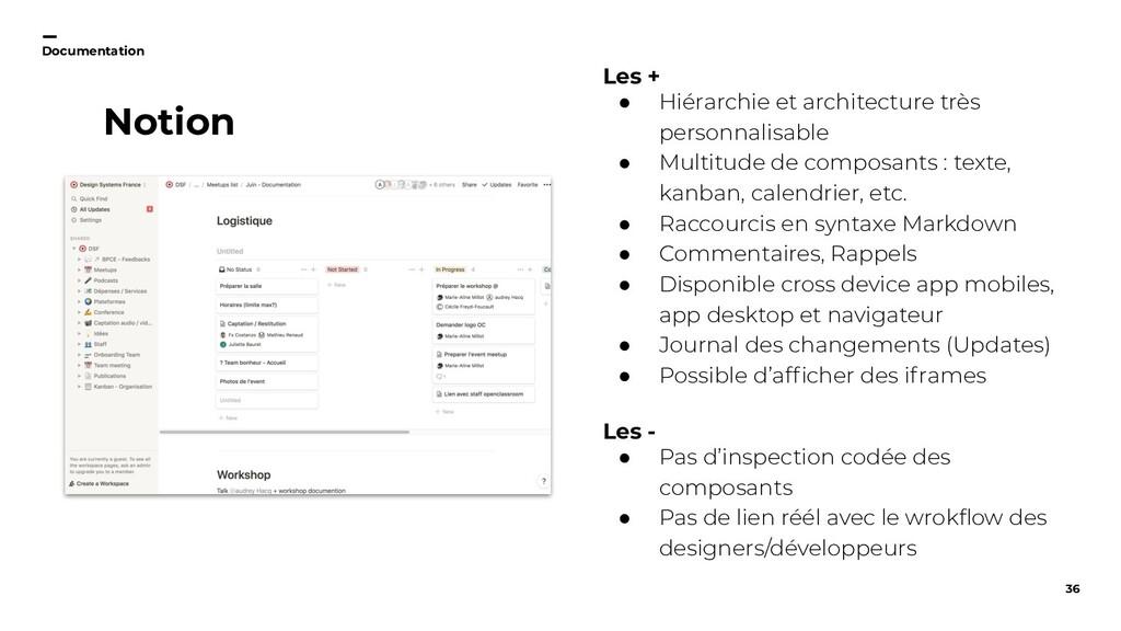 36 Documentation Notion Les + ● Hiérarchie et a...
