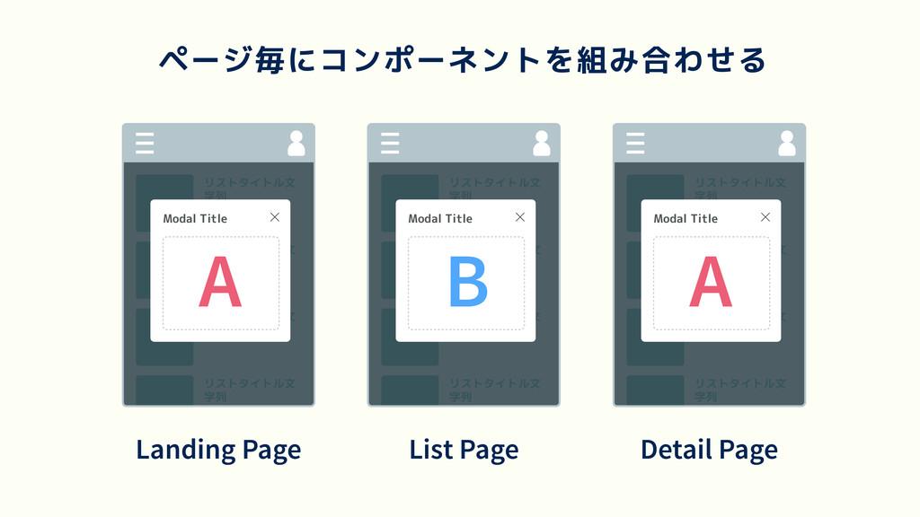 ページ毎にコンポーネントを組み合わせる リストタイトル文 字列 リストタイトル文 字列 リスト...