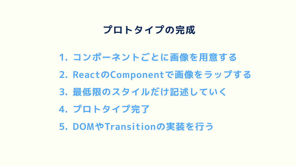 1. コンポーネントごとに画像を用意する 2. ReactのComponentで画像をラップす...