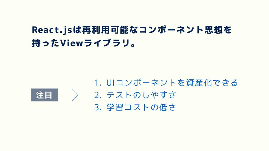 React.jsは再利用可能なコンポーネント思想を 持ったViewライブラリ。 1. UIコン...