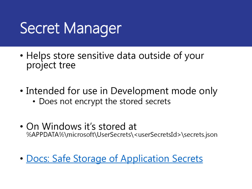 Secret Manager • Helps store sensitive data out...