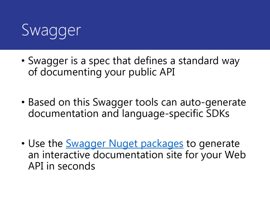 Swagger • Swagger is a spec that defines a stan...