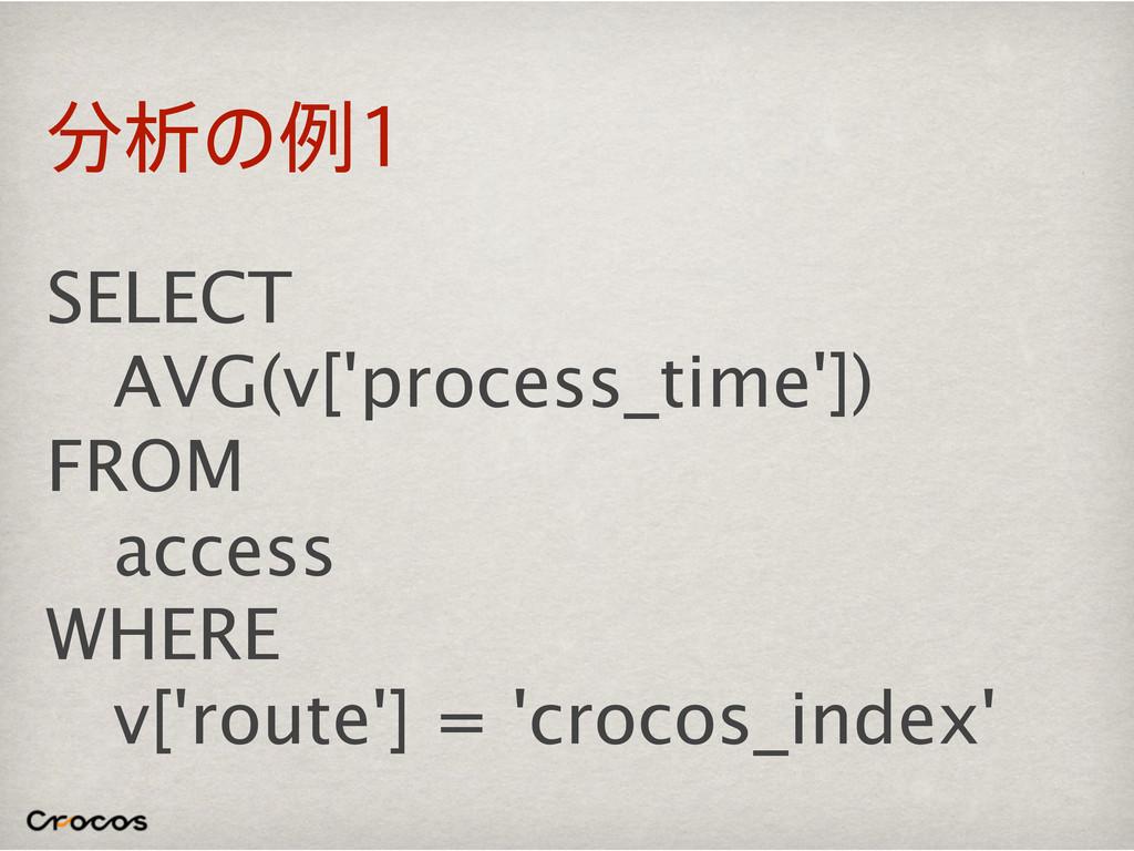 ੳͷྫ SELECT AVG(v['process_time']) FROM access...