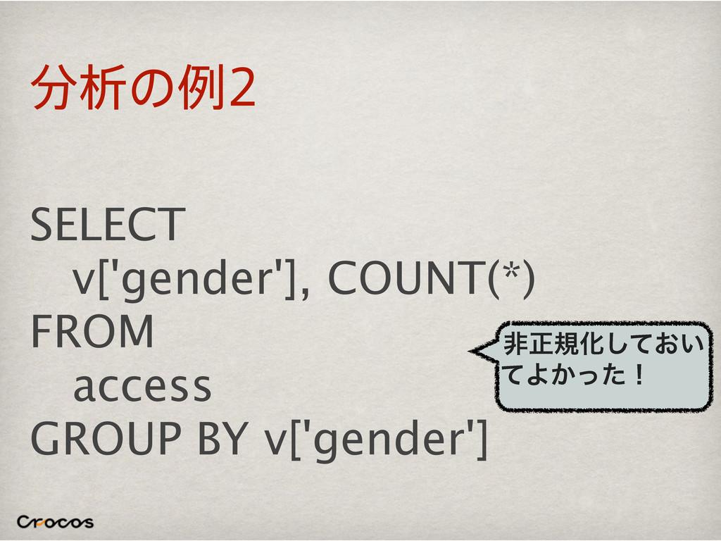 ੳͷྫ SELECT v['gender'], COUNT(*) FROM access ...