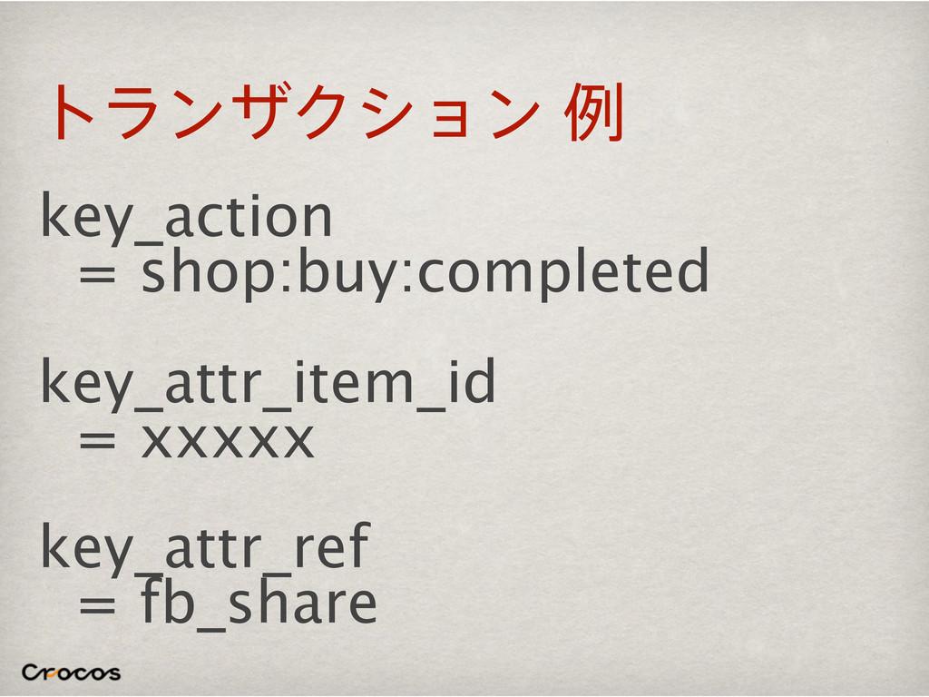 τϥϯβΫγϣϯྫ key_action = shop:buy:completed key_...