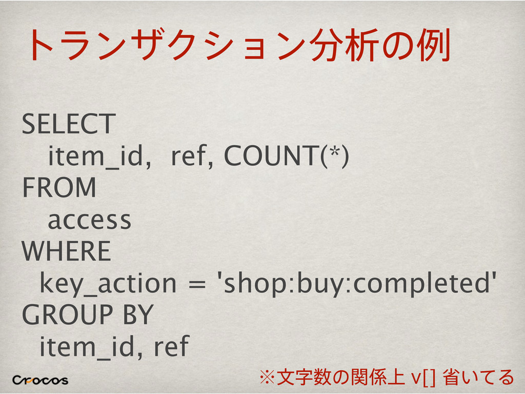 τϥϯβΫγϣϯੳͷྫ SELECT item_id, ref, COUNT(*) FROM...
