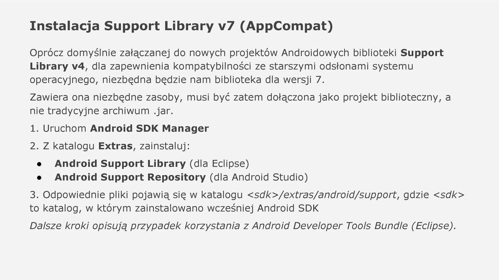 Instalacja Support Library v7 (AppCompat) Opróc...