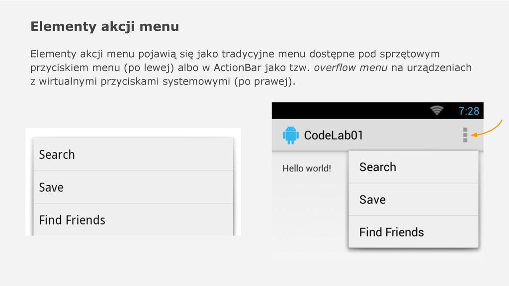 Elementy akcji menu Elementy akcji menu pojawią...
