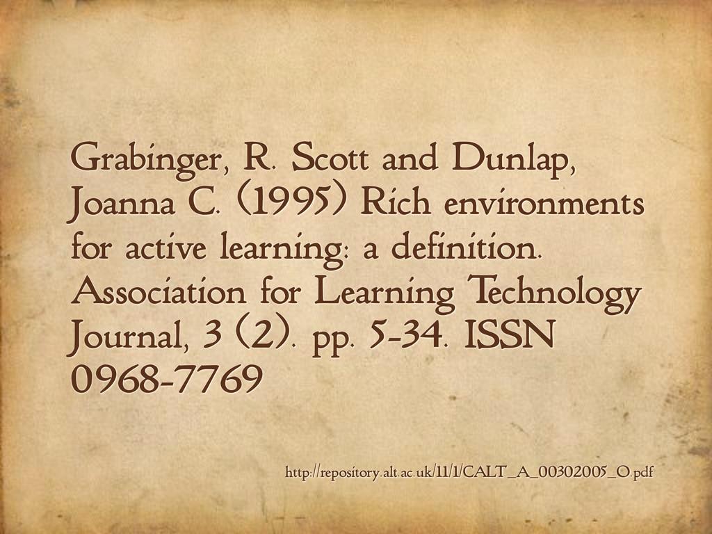 Grabinger, R. Scott and Dunlap, Joanna C. (1995...