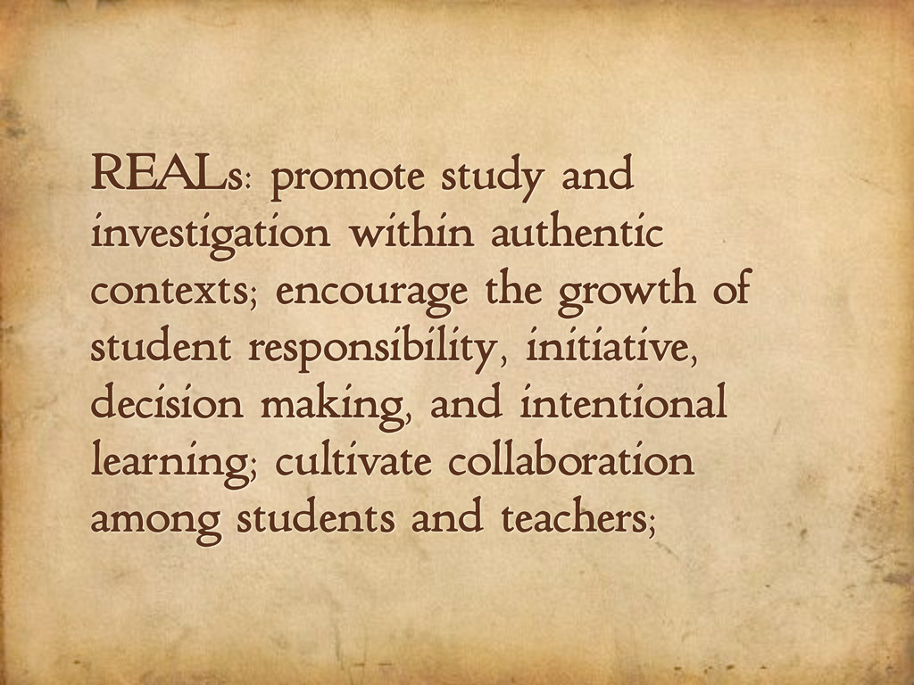 REALs: promote study and investigation within a...