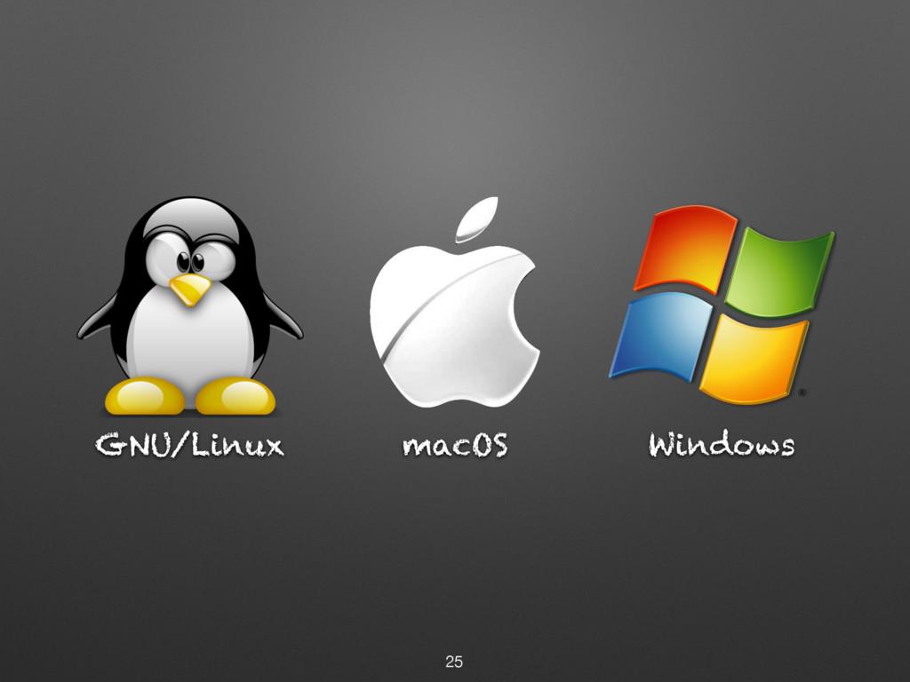 GNU/Linux 25 Windows macOS