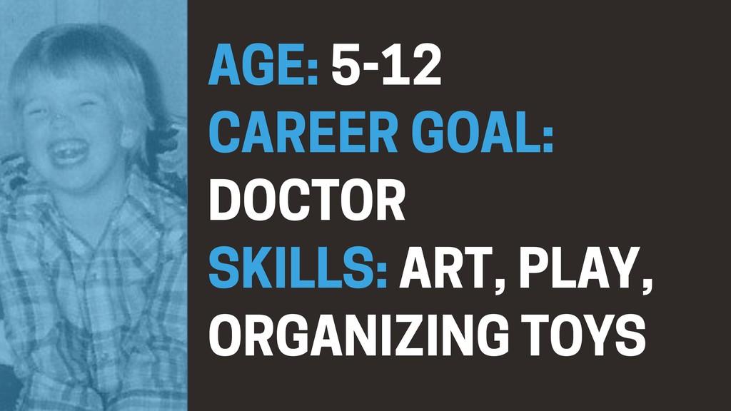 AGE: 5-12 CAREER GOAL: DOCTOR SKILLS: ART, PLA...