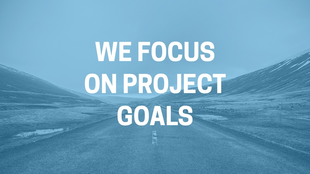 WE FOCUS ON PROJECT GOALS