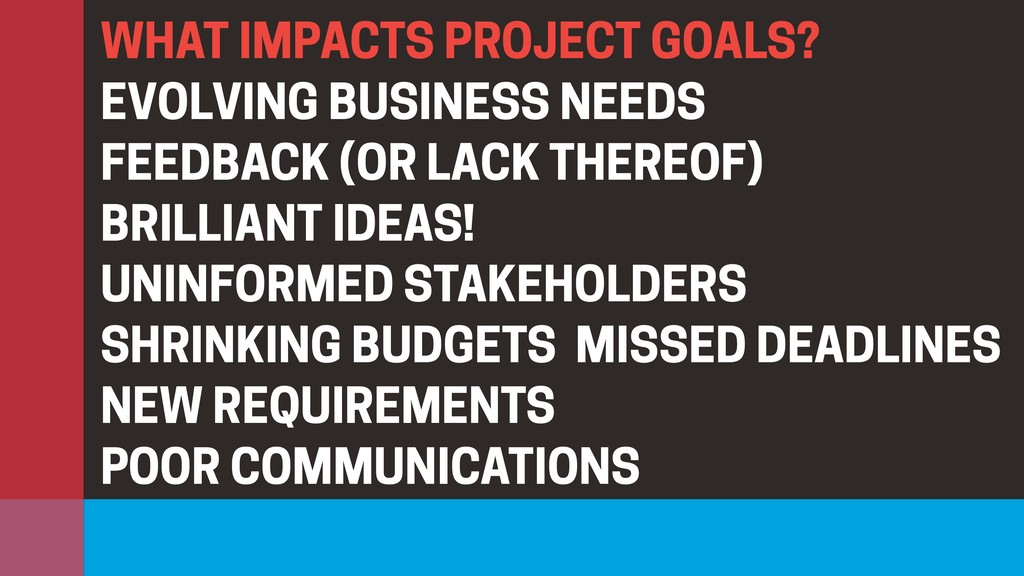 WHAT IMPACTS PROJECT GOALS? EVOLVING BUSINESS N...