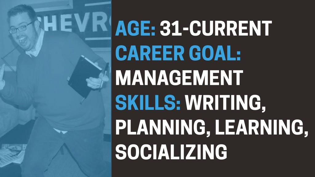 AGE: 31-CURRENT CAREER GOAL: MANAGEMENT SKILLS:...