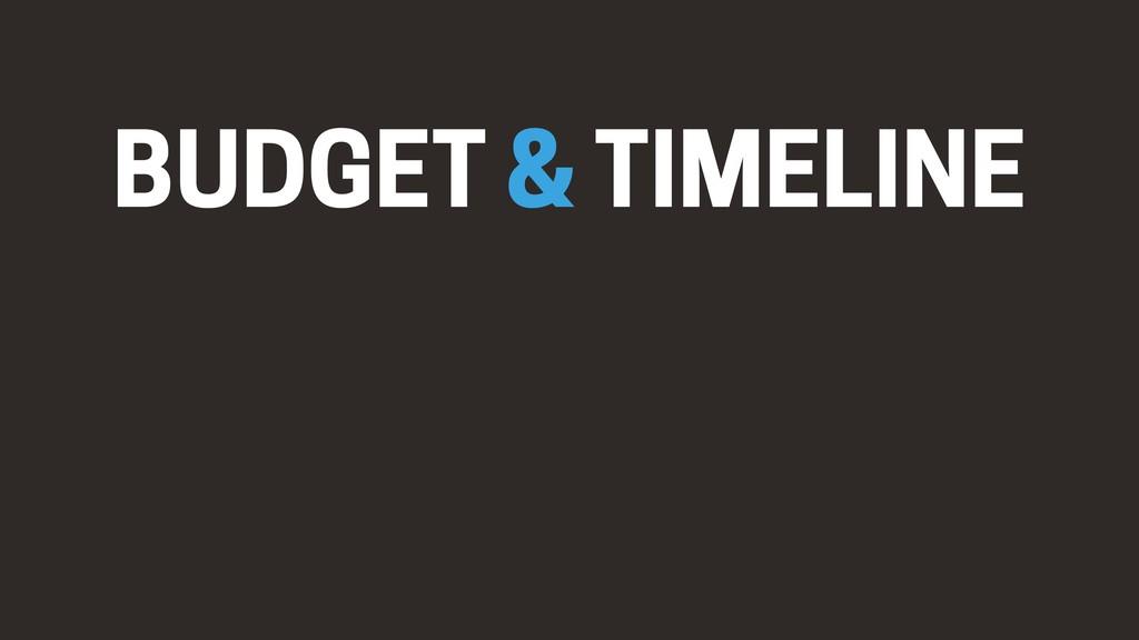 BUDGET & TIMELINE