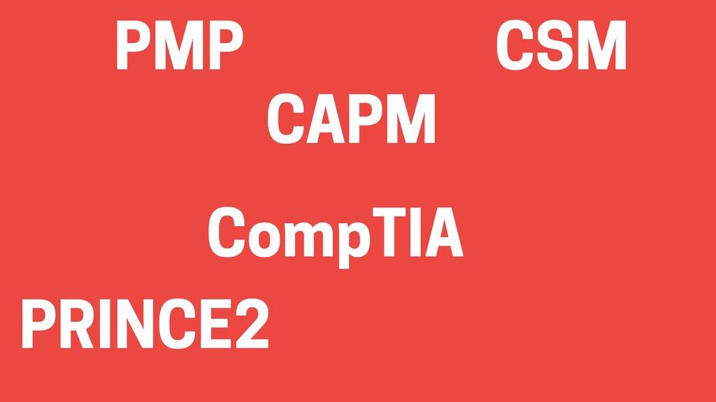 PMP CSM CAPM CompTIA PRINCE2