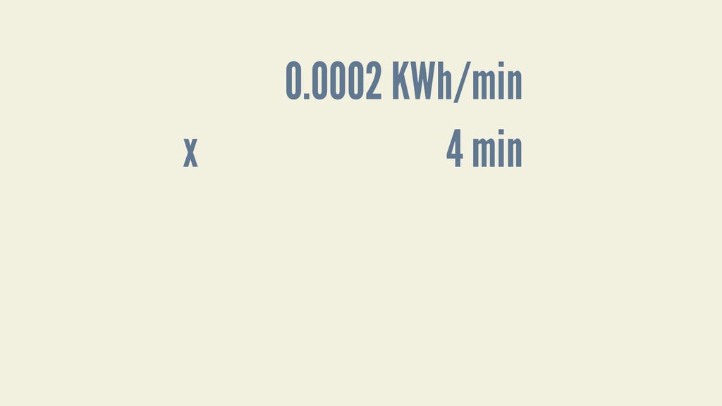 4 min 0.0002 KWh/min x