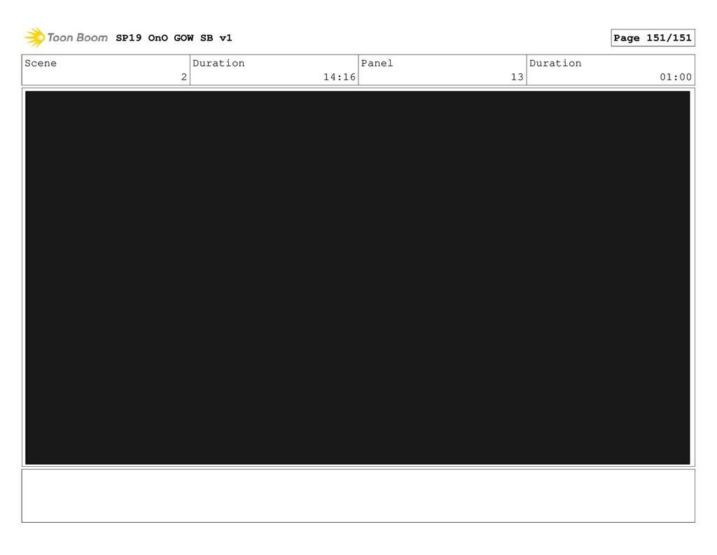 Scene 2 Duration 14:16 Panel 13 Duration 01:00 ...