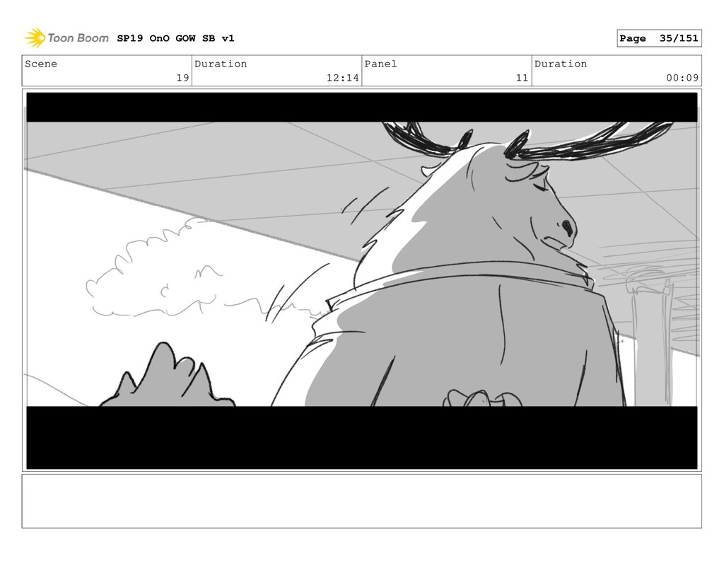 Scene 19 Duration 12:14 Panel 11 Duration 00:09...