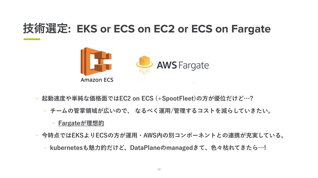 10 ٕज़બఆ: EKS or ECS on EC2 or ECS on Fargate 10...