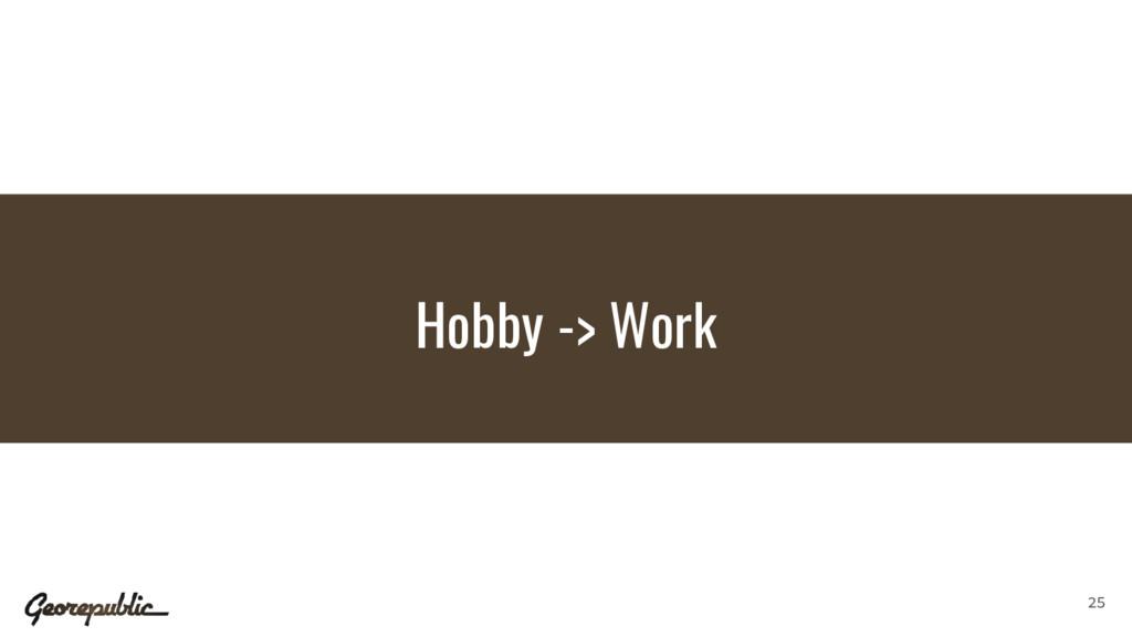 Hobby -> Work 25