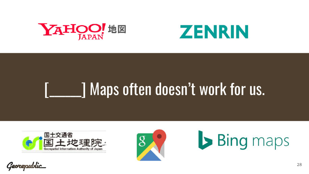 [______] Maps often doesn't work for us. 28