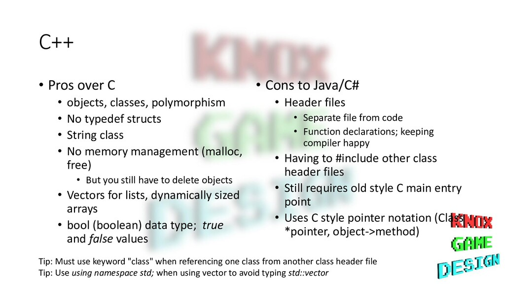C++ • Pros over C • objects, classes, polymorph...