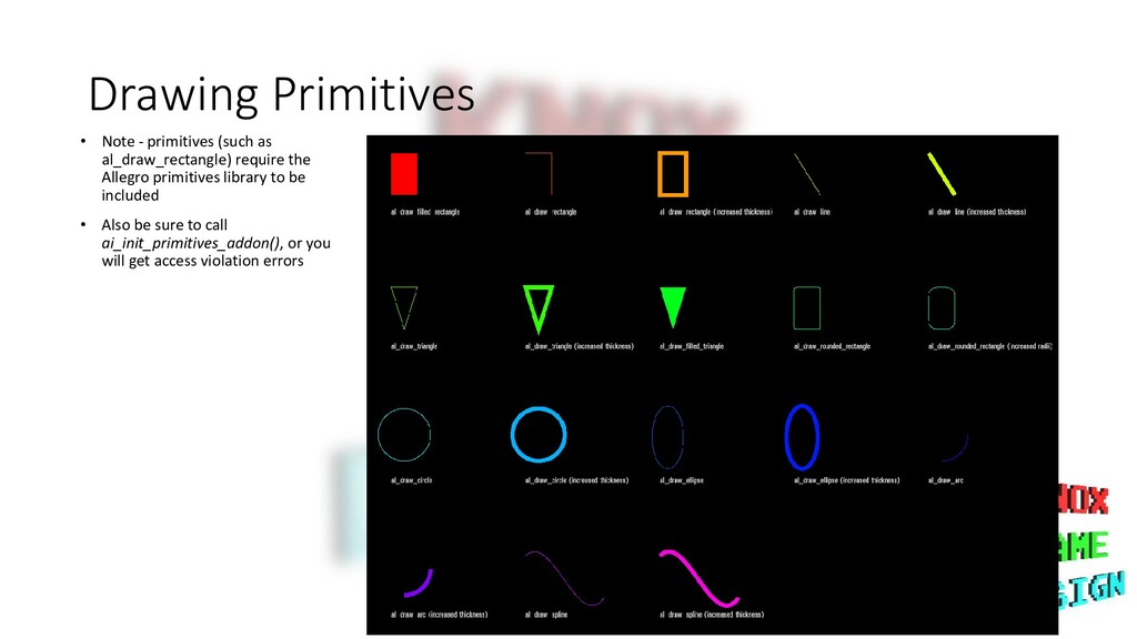 Drawing Primitives • Note - primitives (such as...