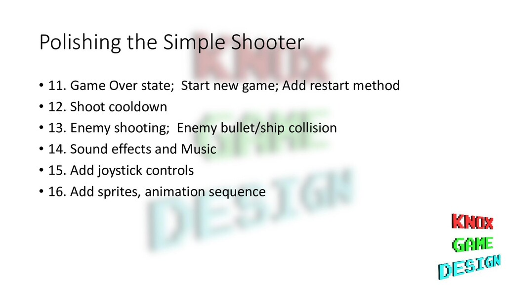 Polishing the Simple Shooter • 11. Game Over st...